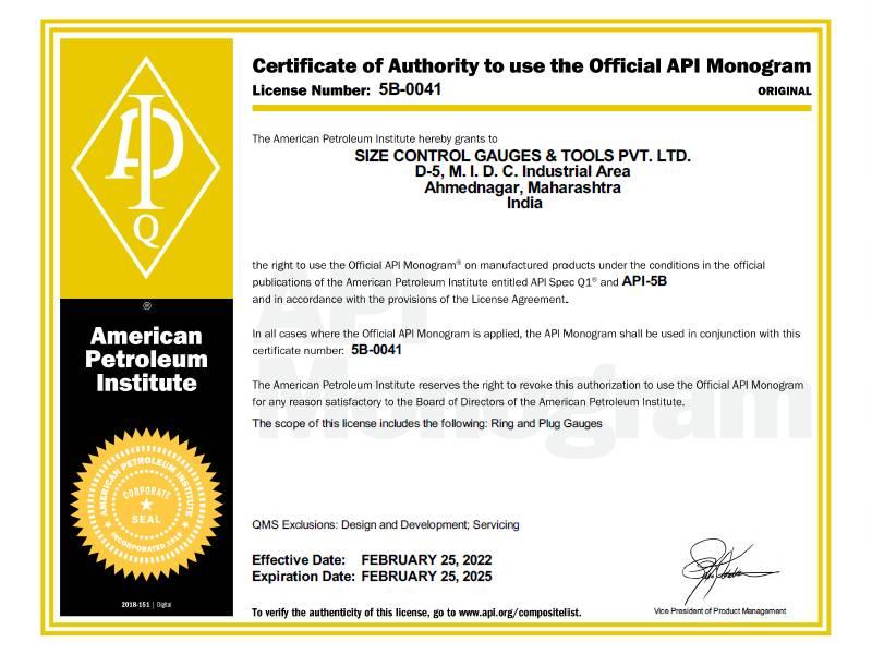 Certification & Achievement| SIZECONTROL Gauges